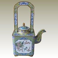 Old Chinese Enamel Wine Pot Flower Motifs.