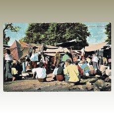 Vintage postcard of Bazaar in Myanmar Burma
