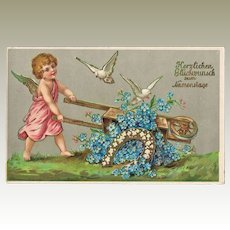 Decorative Old Embossed Postcard. Saint's Day 1905.