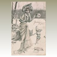 New Year Postcard Lady and Dwarf with Piglet Art Deco 1907