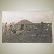 Old Chinese Photo Postcard with Mongolian scene.