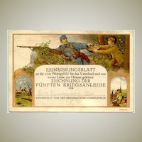 1916: Commemorative Postcard: Donations for War Bonds