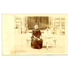 Old Photo of young Tennis player with Mother