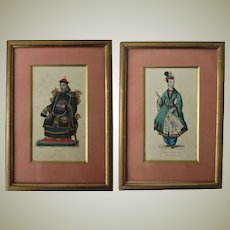 Two Antique Etchings with Chinese Noble Man and Lady c. 1840