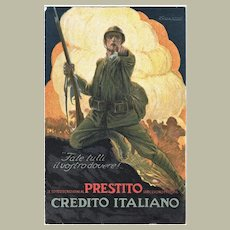 Advertising Postcard for Italian War Bonds by Credito Italiano
