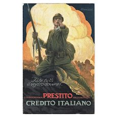 Advertising Postcard for Italian War Bonds by Credito Italiano