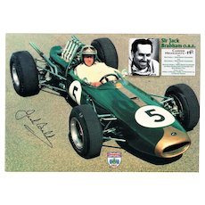Jack Brabham Autograph. Signed Print plus Note. COA