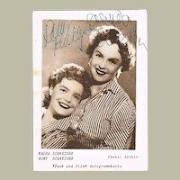 Romy Schneider and Magda Schneider. Autographs on Postcard. CoA