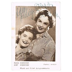 Romy Schneider and Magda Schneider. Autographs on Postcard. CoA