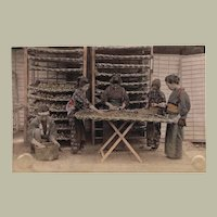 Antique tinted Japanese Albumen Photo with Ladies at Work