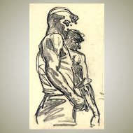 Old Charcoal Drawing by Russian Artist. 2 Workers