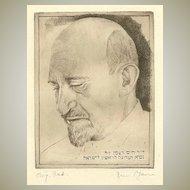 Chaim Weitzman Portrait: Old Etching, Artist signed.