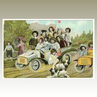 Funny Postcard: Kids in a Car, Dogs. 1909