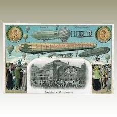 Zeppelin Postcard1909, Embossed, Litho