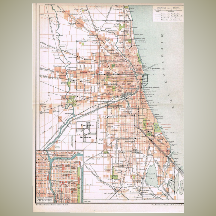 Map 1900.Old Chicago Map From 1900