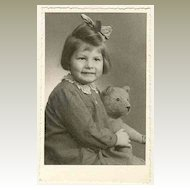 Girl with her Teddy Bear: Vintage Photo from Austria