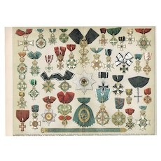 1882: Orders, Decorations. Very early Chromolithograph. Decorative.
