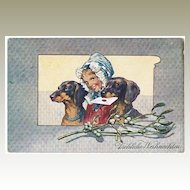 Two Sausage Dogs on vintage Christmas Postcard 1906