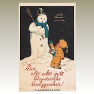 Old Snowman Postcard as Candy Advertising