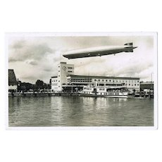 Zeppelin Airship over Station in Friedrichshafen