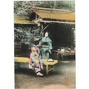 Old tinted Japanese Postcard with two Geishas