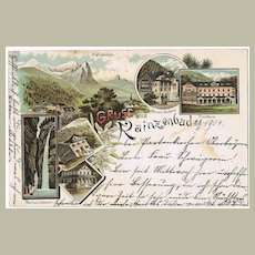 Greetings from Kainzenbad, vintage Postcard from 1905