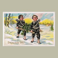 Happy New Year Embossed Greeting Postcard