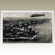 Airship Zeppelin over Friedrichshafen Postcard 1933