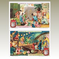 Japanese Festivals: Six old Trading Cards by Liebig