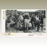 Manchukuo Postcard with Train Station Scene