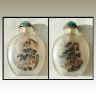 Inside painted Chinese Snuff Bottle with Landscapes.