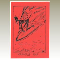 Krampus Postcard With Krampus on Bomb