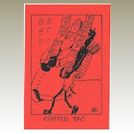 Krampus and St. Nicholas carrying Corned Beef Tins Postcard 1945