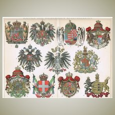 Coat of Arms of Culture Nations, Chromo Lithograph from 1898