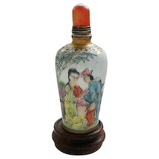 Chinese Porcelain Snuff Bottle with Erotic Theme
