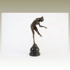 C.J. Colinet Bronze Figure of Lady Balancing Balls.