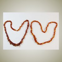 2 Amber Necklaces 70 cm