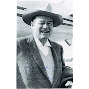 John Wayne Autograph on Photo. 6 x 9. Very attractive. CoA
