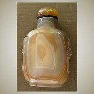 Agate Snuff Bottle with Lion Heads