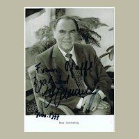 Max Schmeling Autograph on b/w Photo, CoA