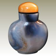 Agate Snuff Bottle with Fin Structure