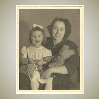 Lady and Daughter with Teddy Bear: Vintage Photo from 1951