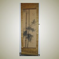 Old Chinese Scroll Painting Bamboo and Sparrows