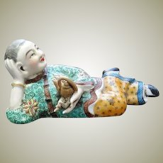Antique Porcelain Snuff Bottle Lady with Tea Pot