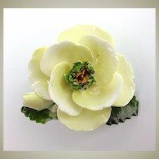 Old Porcelain Flower Brooch, Cara China