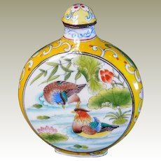 Old enameled Chinese Snuff Bottle, Yuan Yang