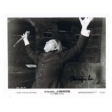 Christopher Lee Autograph on 10 x 8 Photo. CoA