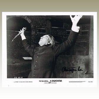 Christopher Lee Autograph on 10 x 8 Photo. CoA