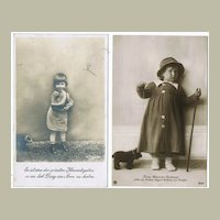 Two Photo Postcards Girls with Teddy Bears