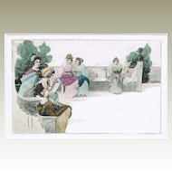 Art Nouveau Postcard, Girls on Benches, Munk